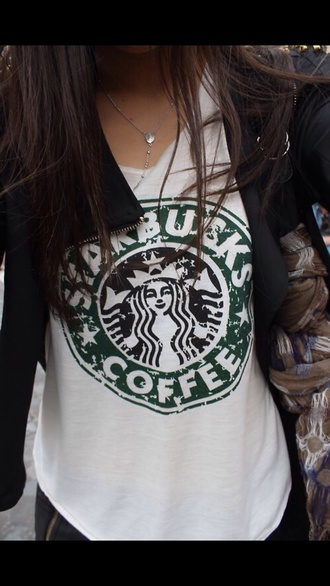 t-shirt white starbucks coffee