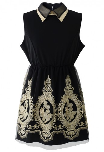 Golden Embroidery Sleeveless Black Dress  - Retro, Indie and Unique Fashion