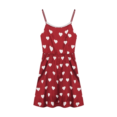 Hearts Red Short Strap Dress