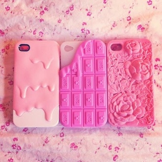 phone cover kawaii pink girly roses food