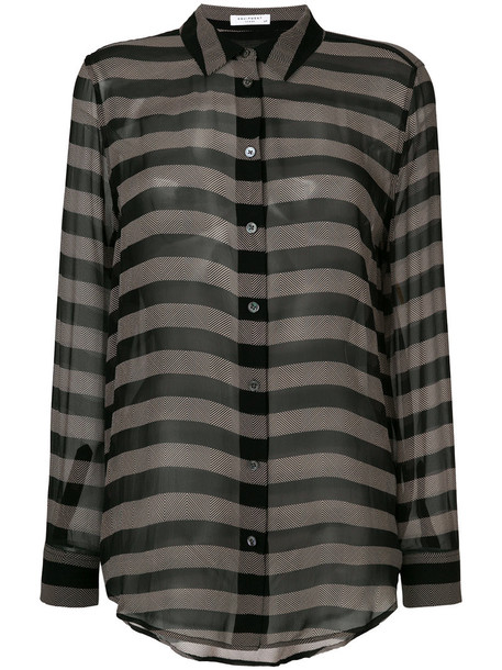 Equipment shirt striped shirt sheer women black silk top
