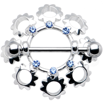 "Light Blue Gem FLOWER BOUQUET Nipple Ring 7/8"" 5mm 