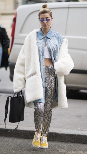 shoes sneakers pants crop tops fur coat hailey baldwin model off-duty streetstyle shirt paris fashion week 2017 fashion week 2017 sunglasses