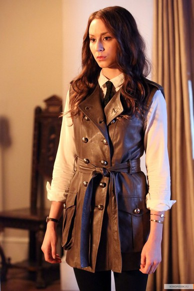 pretty little liars jacket vest leather spencer hastings troian bellisario