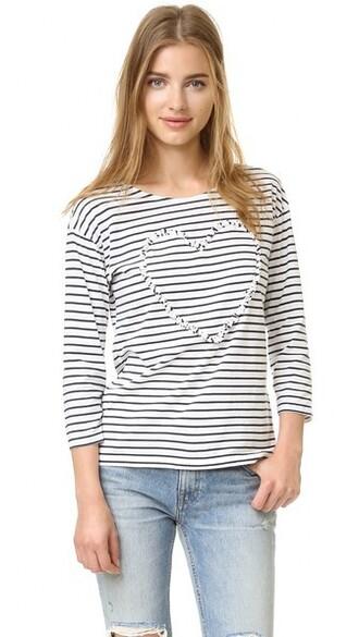 heart ruffle navy white top