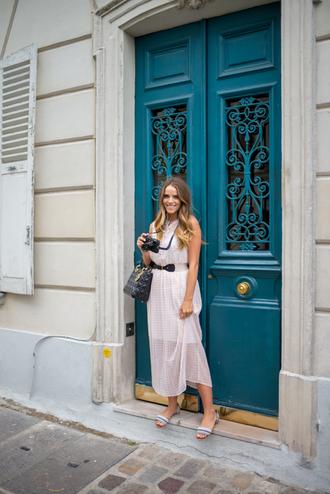 gal meets glam blogger dress belt sunglasses see through dress flats