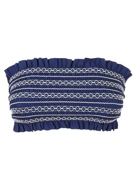 bikini bikini top ruffled bikini blue swimwear