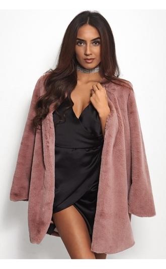 coat faux fur coat pink fur coat winter coat