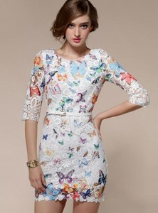 dress lace dress butterfly printed