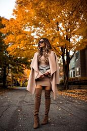 maria vizuete,mia mia mine,blogger,coat,dress,shoes,bag,sunglasses,thigh high boots,over the knee,gucci bag,nude jacket,brown boots,fall colors,fall outfits