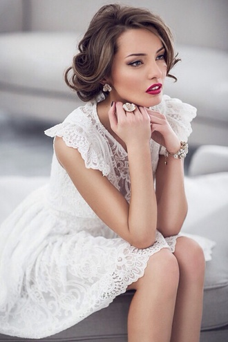 dress white wedding clothes white dress lace dress elegant white lace dress classy delicate formal dress formal formal white dress