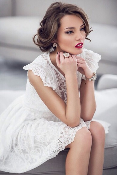 dress white wedding clothes white dress lace dress elegant