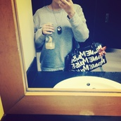 bag,disney,red,black,bow,180,necklace,dog tag,grey sweater,starbucks coffee