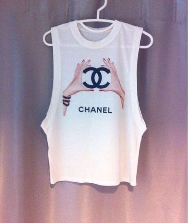 Top Chanel T Shirt White Top Wheretoget