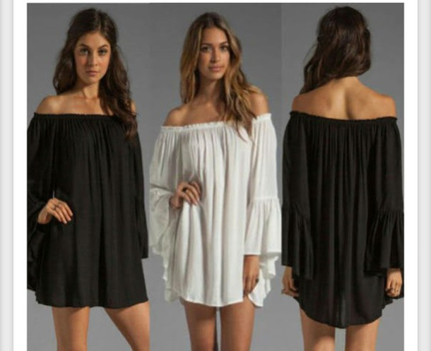 5b8cdca26676 off the shoulder dress black white dress white ruffle long sleeves cute dress  dress