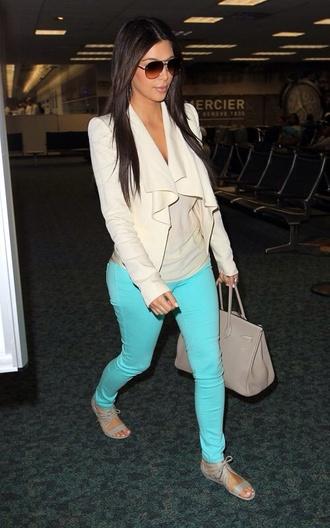 jeans turquoise skinny jeans kim kardashian blazer jacket shoes