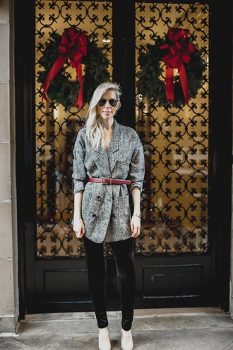 yael steren blogger jacket belt leggings shoes jewels sunglasses make-up nail polish blazer grey jacket pumps