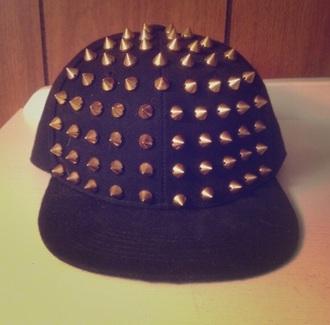 hat black snapback flat bill gold spikes studs hipster cool