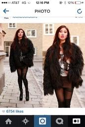 jacket,faux fur jacket,black faux fur coat