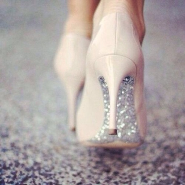 Shoes: glitter shoes high heels nude silver - Wheretoget