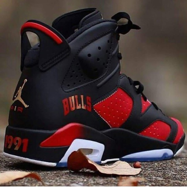 shoes black retro 6 jordan custom jordan's jordans retro jordans air jordan custom jordans custom shoes sneakers red chicago chicago bulls chicago bulls dope jordan 7 1991