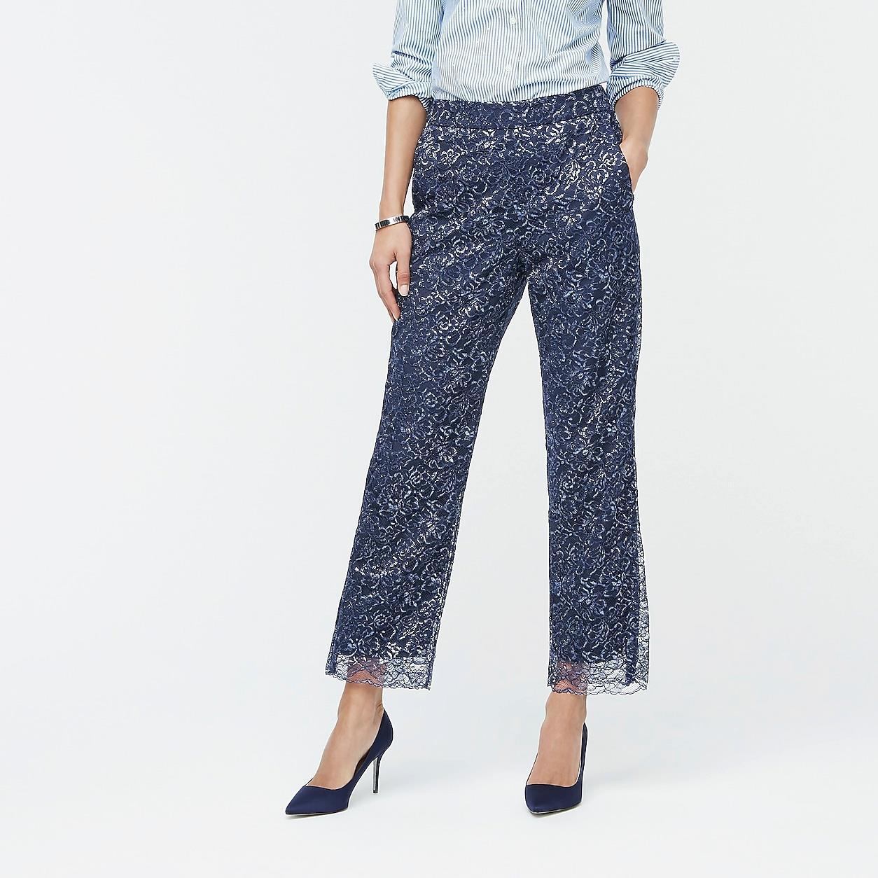 High-Rise Pull-On Peyton Wide-Leg Pant In Metallic Lace