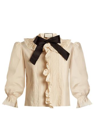 blouse bow ruffle cotton top