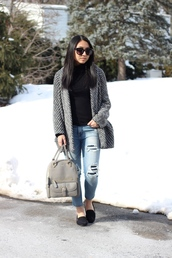 looks by lau,blogger,ripped jeans,grey bag,winter jacket,cardigan,jeans,shoes,black turtleneck top,grey cardigan,blue jeans,denim,loafers,black loafers,sunglasses