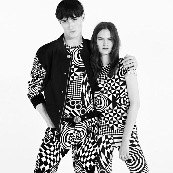 jeans geometric black and white versace versace veste bi-material dress