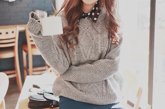 polka dots grey sweater grey gray knitted sweater wooly winter pretty winter sweater winter outfits collar