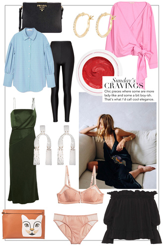 teetharejade blogger bag top jewels blouse underwear leggings shirt dress green dress prada bag blue shirt