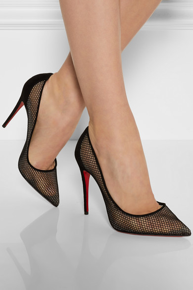 wholesale dealer 87d8e fc384 Christian Louboutin | Follies Resille 100 suede-trimmed mesh pumps |  NET-A-PORTER.COM