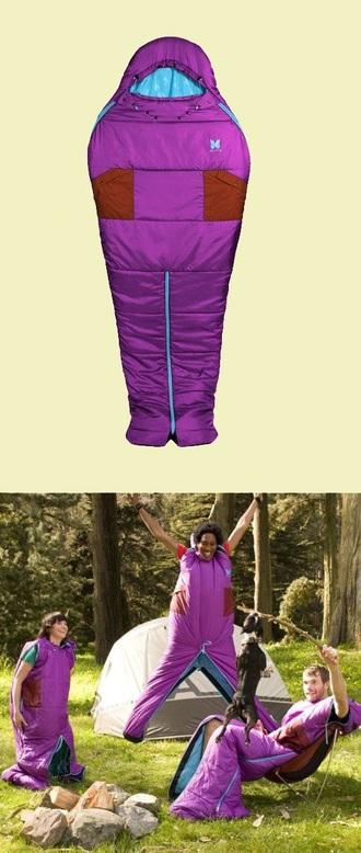 jumpsuit sleeping bag sleep purple blue cool funny camping dress