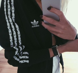 sweater adidas hoodie hoody zipup black white zip-up black and white