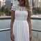 White crochet lace backless dress
