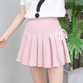skirt,pink,pink dress,pink skirt,pleated,pleated skirt,light pink,cute,cute dress,cute skirt,ribbon,bow,bows,cute bow skirt,short,short dress,short skirt