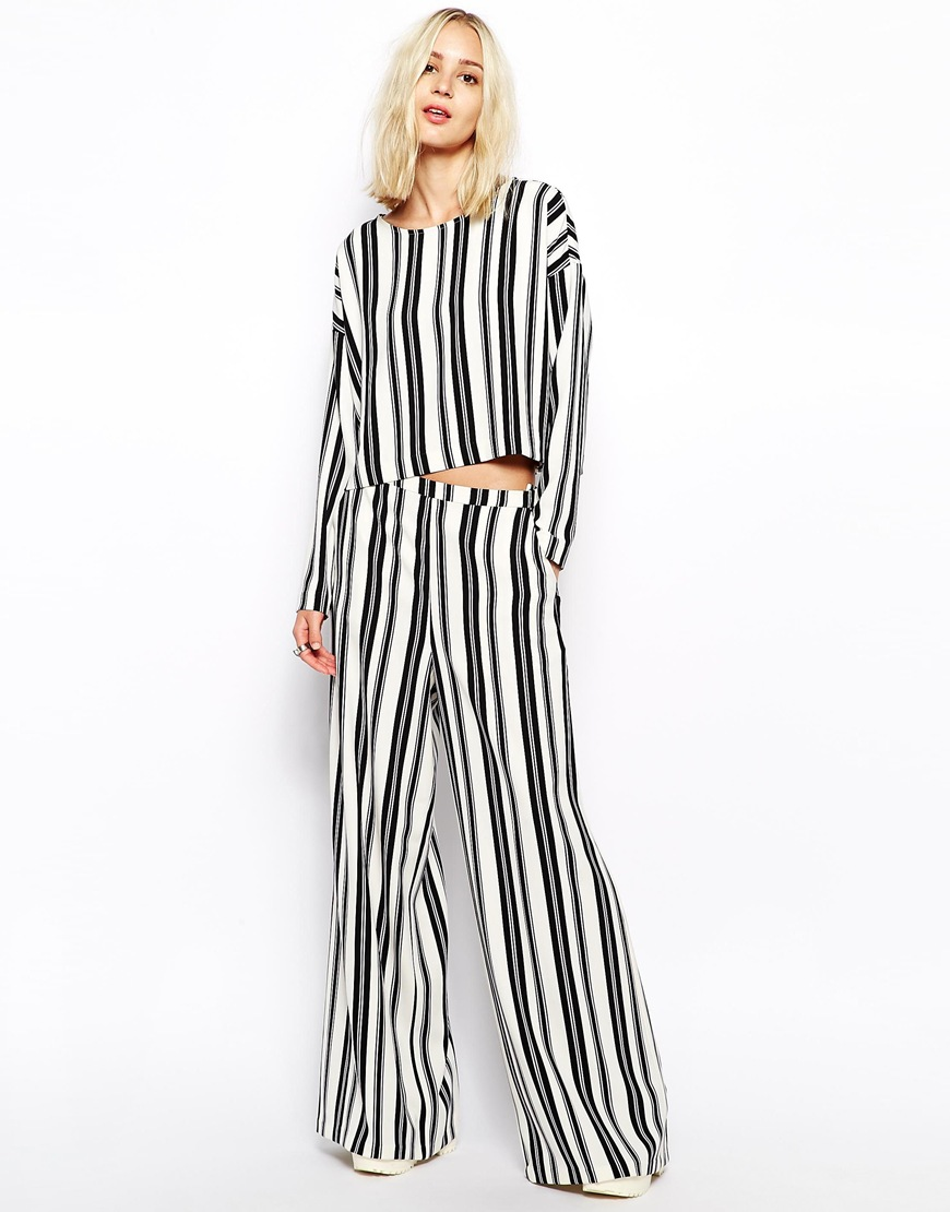 Weekday Striped Wide Leg Trousers at asos.com