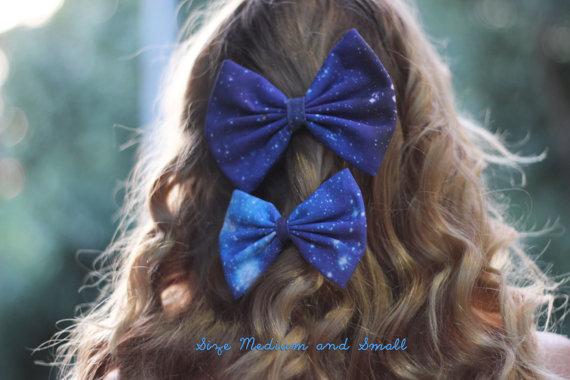 Blue/Black Galaxy Printed Hair Bow by BiancaParisTaylor on Etsy