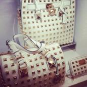 bag,michael kors,studs,purse,satchel,white,gold,wallet