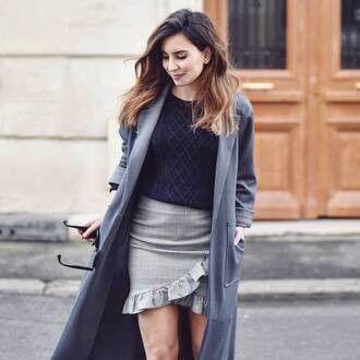 skirt french girl black sweater ruffle grey sweater grey skirt mini skirt sweater coat grey coat