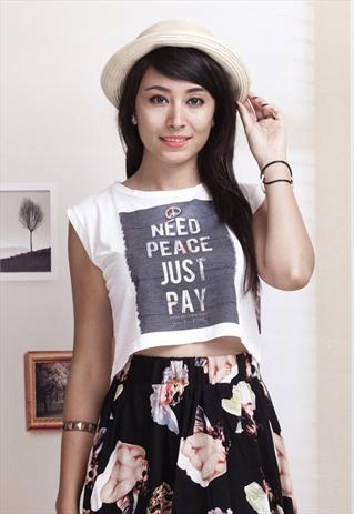Need peace slogan crop top