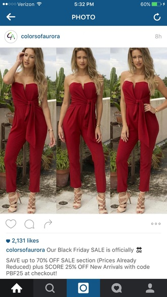 jumpsuit red jumpsuit red holiday dress