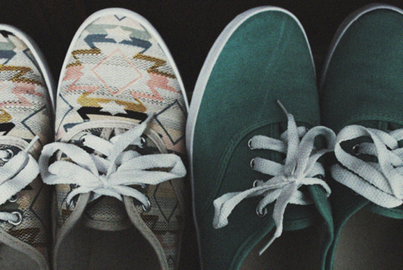 vans vans off the wall shoes aztec pastel canvas olive green tribal pattern sneakers
