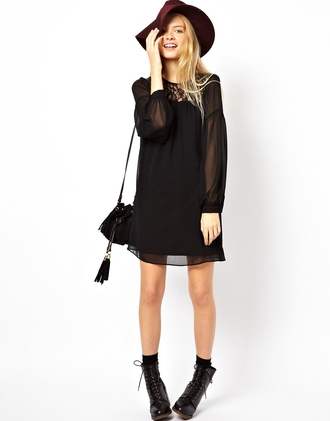 dress asos swing dress black lace witchy bohemian summer swing black jeans black dress fluffy