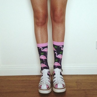 underwear flamingo pattern socks pink black pink socks black socks high socks