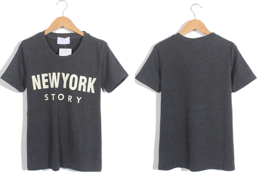 Grey Gray Short Sleeve NYC SWAG NEW YORK STORY Graphic T Shirt Small Tee White