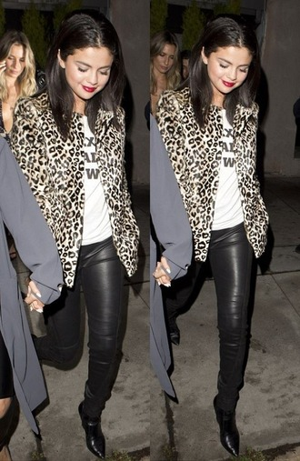 pants leather leopard print jacket animal print selena gomez top