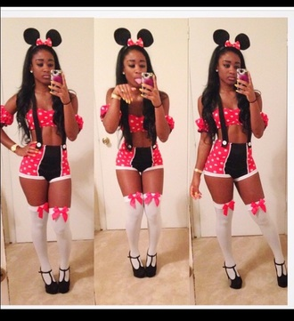 minnie mouse halloween halloween costume pink dress red dress pin up high heels