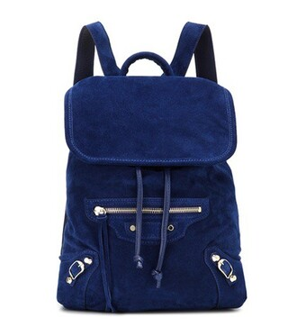 classic backpack suede blue bag