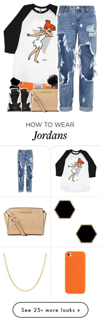 shirt baseball tee dap black white blouse ripped jeans pants jeans denim jewelry red orange white dress jordans nike pink micheal kors bag tote bag beige tan swag details on fleek urban casual school outfit